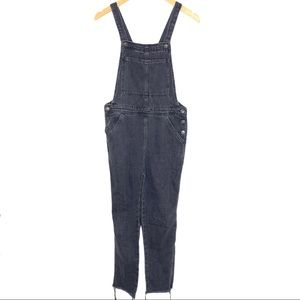 TopShop Distressed Black Gray Overalls Full Length